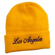 Los Angeles Embroidered Long Cuff Beanie - Yellow