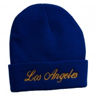 Los Angeles Embroidered Long Cuff Beanie - Royal