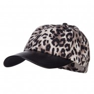 Leopard Print Cap with Leather Bill - Silver