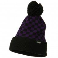 Checkered Long Cuff Pom Pom Beanie - Purple
