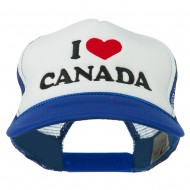 I love Canada with Heart Embroidered Foam Front Mesh Back Cap - Royal White