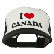 I love Canada with Heart Embroidered Foam Front Mesh Back Cap - Black White