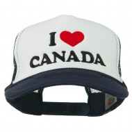 I love Canada with Heart Embroidered Foam Front Mesh Back Cap - Navy White