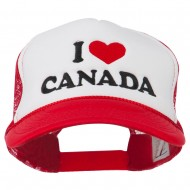 I love Canada with Heart Embroidered Foam Front Mesh Back Cap - Red White Red