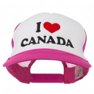 I love Canada with Heart Embroidered Foam Front Mesh Back Cap - Hot Pink White