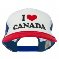 I love Canada with Heart Embroidered Foam Front Mesh Back Cap - Red White Royal