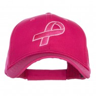 Hot Pink Ribbon Breast Cancer Embroidered Lady Cap - Hot Pink