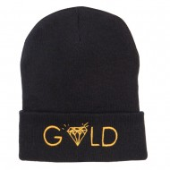 Gold Diamond Logo Embroidered Long Beanie - Black
