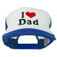 I Love Dad Heart Embroidered Foam Mesh Back Cap - Royal White