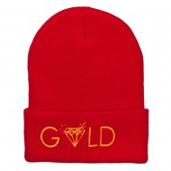 Gold Diamond Logo Embroidered Long Beanie - Red