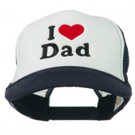 I Love Dad Heart Embroidered Foam Mesh Back Cap - Navy White