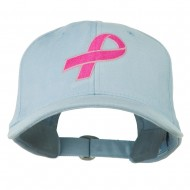 Hot Pink Ribbon Breast Cancer Embroidered Lady Cap - Powder