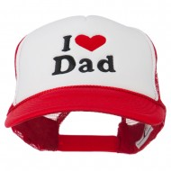 I Love Dad Heart Embroidered Foam Mesh Back Cap - Red White Red
