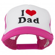I Love Dad Heart Embroidered Foam Mesh Back Cap - Hot Pink White