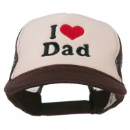 I Love Dad Heart Embroidered Foam Mesh Back Cap - Brown Tan
