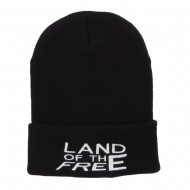 Land of the Free Embroidered Long Beanie - Black