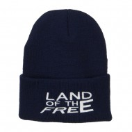 Land of the Free Embroidered Long Beanie - Navy