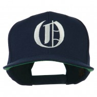 Large Old English O Embroidered Flat Bill Cap - Navy