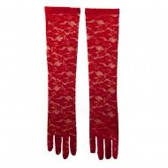 Woman's 19 Inches Long Laced Flower Glove - Red