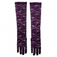 Woman's 19 Inches Long Laced Flower Glove - Purple