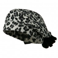 Ladies Fashionable Bow Fleece Beret - Cheetah White