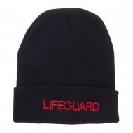 Lifeguard Embroidered Long Cuff Beanie - Black