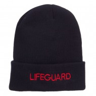 Lifeguard Embroidered Long Cuff Beanie - Navy