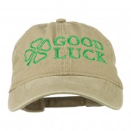 Four Leaf Clover Good Luck Embroidered Washed Cap - Khaki