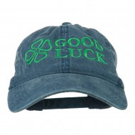 Four Leaf Clover Good Luck Embroidered Washed Cap - Navy
