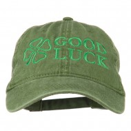 Four Leaf Clover Good Luck Embroidered Washed Cap - Olive
