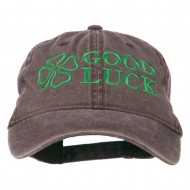 Four Leaf Clover Good Luck Embroidered Washed Cap - Brown