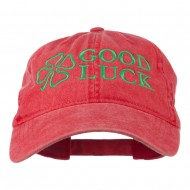 Four Leaf Clover Good Luck Embroidered Washed Cap - Red