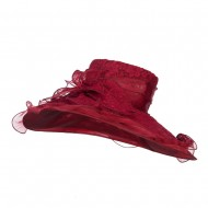 Lace Covered Wide Organza Hat - Burgundy