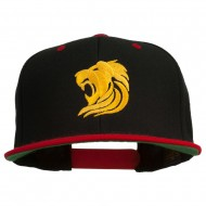 Gold Lion Embroidered Snapback Cap - Black Red