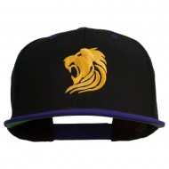 Gold Lion Embroidered Snapback Cap - Black Purple
