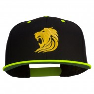 Gold Lion Embroidered Snapback Cap - Neon Yellow
