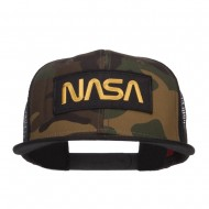 NASA Logo Patched Camo Flat Bill Cap - Black Camo