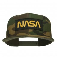 NASA Logo Patched Camo Flat Bill Cap - Camo Olive