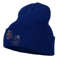 Glitter Christmas Ornaments Embroidered Long Knitted Beanie - Royal