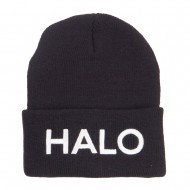 Halo Embroidered Long Beanie - Black