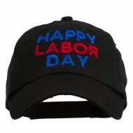 Happy Labor Day Embroidered Washed Cap - Black