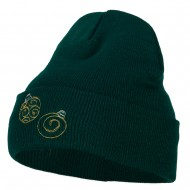 Glitter Christmas Ornaments Embroidered Long Knitted Beanie - Dk Green
