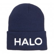 Halo Embroidered Long Beanie - Navy