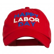 Happy Labor Day Embroidered Washed Cap - Red