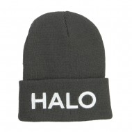 Halo Embroidered Long Beanie - Dk Grey