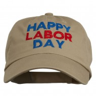 Happy Labor Day Embroidered Washed Cap - Khaki