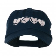 Love Hearts Embroidered Cotton Cap - Navy