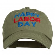 Happy Labor Day Embroidered Washed Cap - Olive