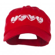 Love Hearts Embroidered Cotton Cap - Red