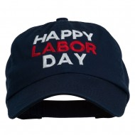 Happy Labor Day Embroidered Washed Cap - Navy